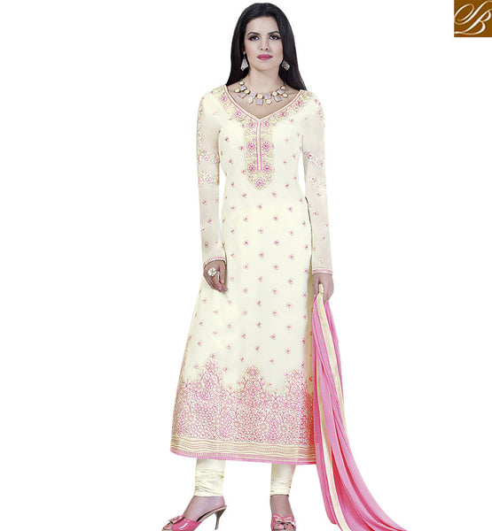 STYLISH BAZAAR FASCINATING CREAM COLORED SUIT WITH AMAZING FLORAL EMBROIDERED WORK VDKLK11109