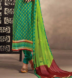 GLAMOROUS GREEN COTTON DRESS MATERIAL WITH SHADED DUPATTA RTRAJ1110A