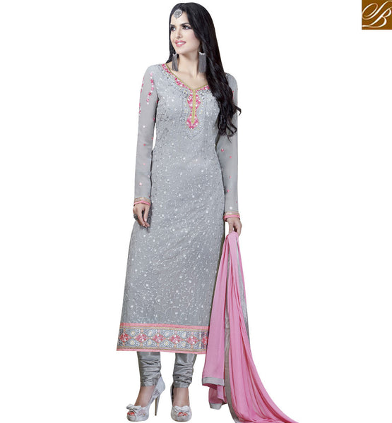 STYLISH BAZAAR ALLURING GREY COLORED DESIGNER SALWAR KAMEEZ VDKLK11110