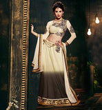 AMAYRA DASTUR CREAM AND GREY TRADITIONAL LEHENGA CHOLI DESIGN