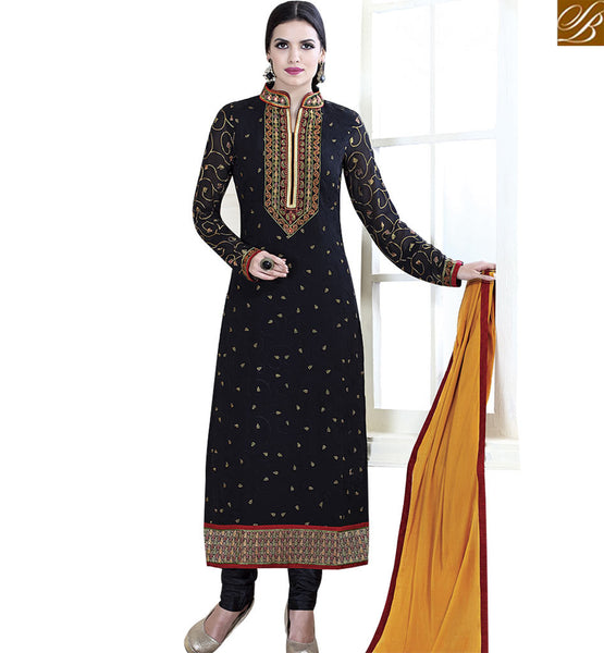 STYLISH BAZAAR BREATHTAKING NAVY BLUE COLORED DESIGNER SUIT VDKLK11112
