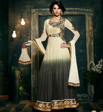 AMAYRA DASTUR GORGEOUS CREAM AND GREY SHADED GEORGETTE ANARKALI DRESS