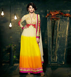 AMAYRA DASTUR IN SHADED CREAM YELLOW ORANGE ANARKALI DRESS