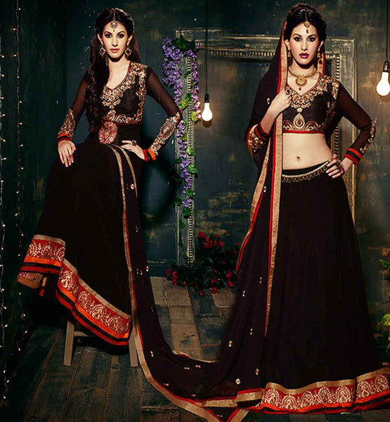 BEAUTIFUL AMYRA DASTUR MAGICAL BLACK DRESS ANARKALI OR CHANIYA CHOLI