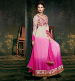 AMAYRA DASTUR SHADED CREAM AND PINK GEORGETTE PARTY WEAR ANARKALI SALWAR SUIT