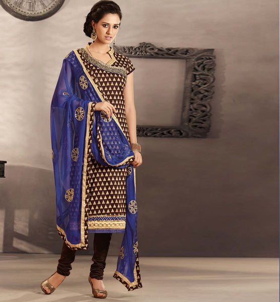 CLASSIC COFFEE COTTON DRESS MATERIAL WITH BLUE CHIFFON DUPATTA RTRAJ1111A