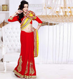LATEST DESIGN PARTY WEAR SAREE  ZARI WORK BRASSO & FAUX GEORGETTE