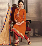 COTTON ORANGE DRESS MATERIAL WITH CHIFFON DUPATTA RTRAJ1112A
