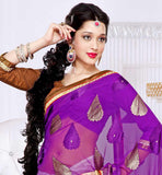 Off-White & Purple designer  Brasso & Laser material party wear saree