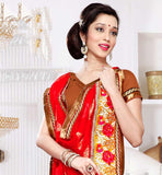 Gorgeous Black & Red latest pattern premium Brasso & Laser material saree