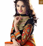 ORANGE CREAM & PINK PARTY WEAR CHIFFON SAREE WITH ART SILK BLOUSE