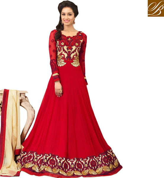 shraddha kapoor images in red anarkali dress