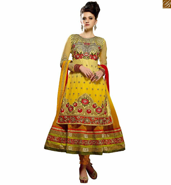 UNUSUAL EMBROIDERED YELLOW LATEST STYLED  ANARKALI SUIT DESIGN OF SALWAR KAMEEZ DESIGNER SUITS FOR WOMEN OF ANY AGE GROUP.| GET IT AT MOST REASONABLE PRICE BELOW 2500