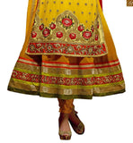 IMAGE OF UNUSUAL EMBROIDERED  YELLOW LATEST STYLED  ANARKALI SUIT DESIGN OF SALWAR KAMEEZ DESIGNER SUITS FOR WOMEN OF ANY AGE GROUP.