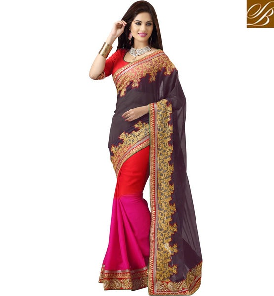 BLUE RED & PINK PARTY WEAR GEORGETTE & SATIN SAREE WITH RED BLOUSE RTMSH1114