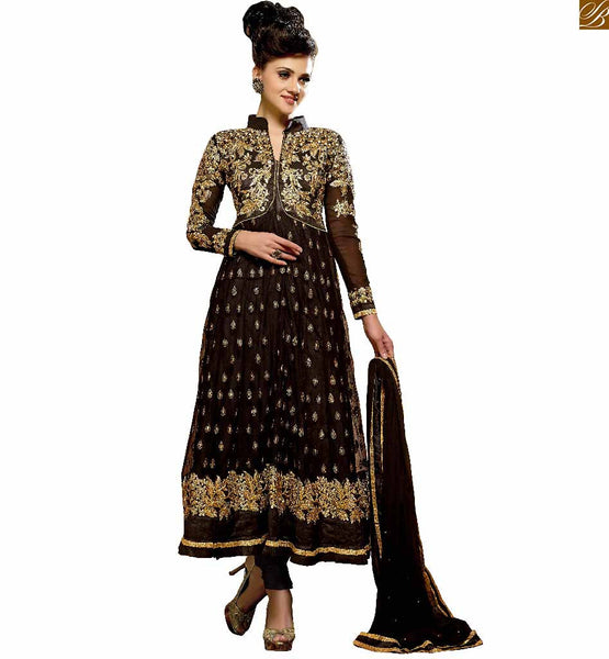 IMPRESSIVE EMBROIDERED BLACK BEST FIT FOR  PARTY WEAR HOT ANARKALI SUIT DESIGNS SHALWAR KAMEEZ STYLE CHUDIDAR DRESS PATTERNS FOR MODERN GIRLS