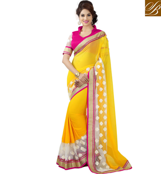 STYLISH BAZAAR YELLOW PARTY WEAR GEORGETTE SAREE WITH PINK BLOUSE RTMSH1115