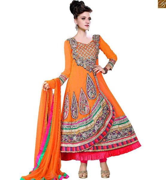 FROCK TYPE UMBRELLA DRESS DESIGNS OF ANARKALI SUITS ONLINE SHOPPING INDIA AT INEXPENSIVE PRICE  ORANGE GEORGETTE LADIES SALWAR SUIT WITH BROADER WIDTH ON LOWER END OF APPAREL WITH  MATCHING SHALWAAR AND DUPATTA. ASTAR ALSO INCLUDED IN SUIT SET.
