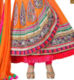 IMAGE OF ORANGE GEORGETTE LADIES SALWAR SUIT WITH BROADER WIDTH ON LOWER END OF APPAREL WITH  MATCHING SHALWAAR AND DUPATTA. ASTAR ALSO INCLUDED IN SUIT SET.