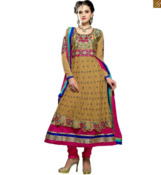 SELECTED BEST DESIGNER PARTY WEAR DRESS ANARKALI SUITS ONLINE INDIA FOR FASHION LOVING LADIES ONLINE INDIA  DECENT LOOKING EMBROIDERY STITCHED ON SLEEVES AND BORDER WITH FLORAL BUTTA TYPE WORK ON KNITTED BEIGE COLOR KAMEEZ AND PINK SALWAR PLUS DUPATTA