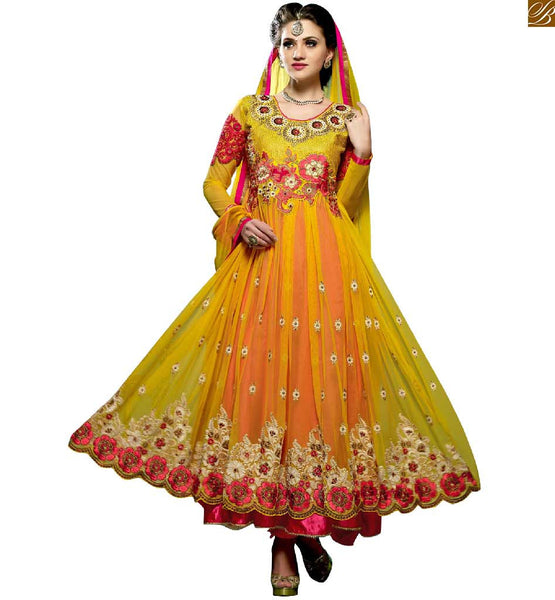 GET THIS STUNNING BEST DESS AMONG ITS COLLECTIOMN AT REDUCED ATE, CHEAP ANARKALI SUITS INDIA NEW SALWAR KAMEEZ DESIGNS 2015 BEST PRODUCT  | EMBROIDERED YELLOW KNITTED KAMIZ &  MATCHING SHALWAR WITH NAZNEEN DUPATTA