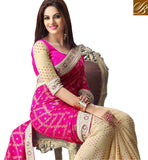 STYLISH BAZAAR PINK & CREAM JACQUARD & GEORGETTE SAREE WITH BLOUSE