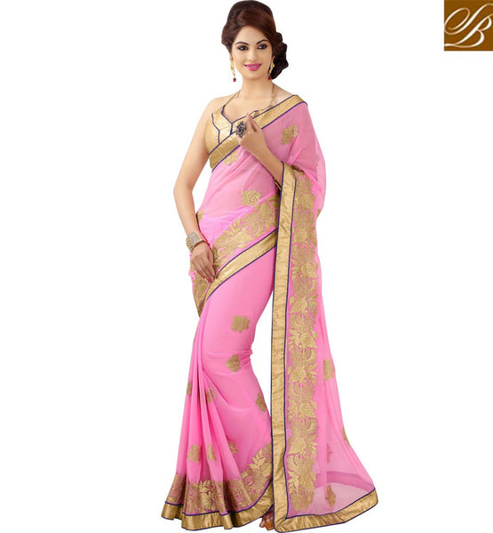 STYLISH BAZAAR PEACH CHIFFON SAREE WITH CREAM ART SILK BLOUSE