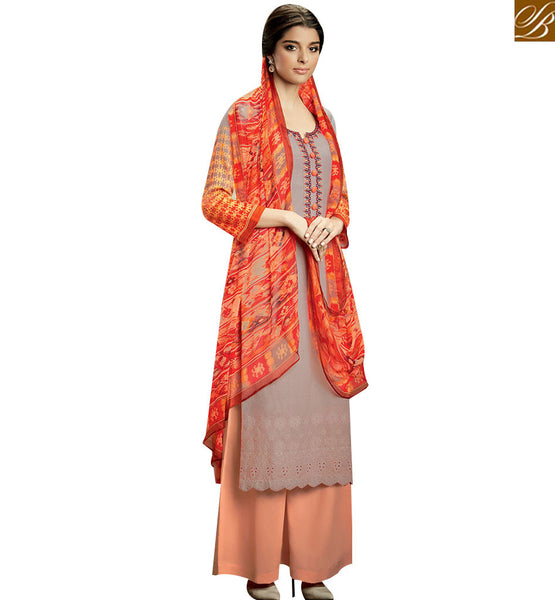 STYLISH BAZAAR MAGNIFICENT GREY COLOR SALWAR KAMEEZ WITH MULTI COLOR DUPATTA KMV111