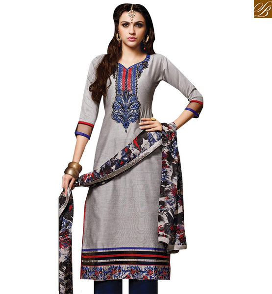 STYLISH BAZAAR FLATTERING GREY COLORED SALWAR SUIT WITH BEAUTIFUL BORDER WORK RTSRH111