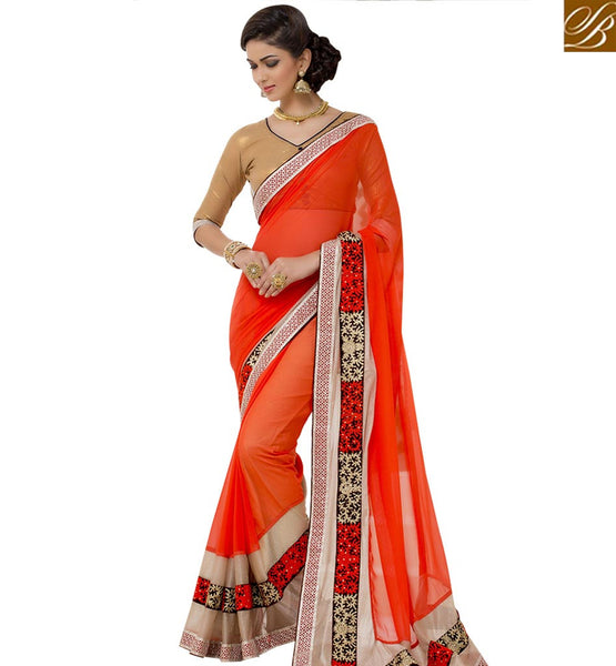 STYLISH BAZAAR PREMIUM ORANGE DESIGNED DESIGNER SAREE RTANT111