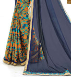 Half saree model sarees hot combination indian blouse patterns blue and orange georgette half saree model printed saree with blue indian patterns art silk blouse
