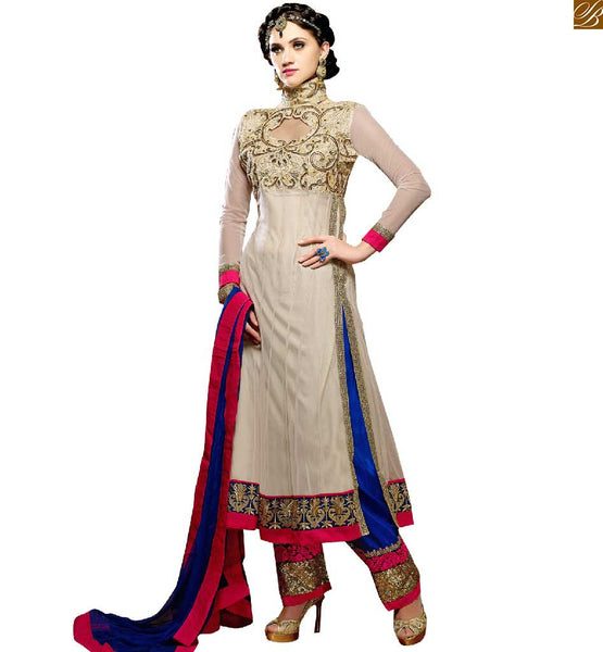 IMAGE OF ASSORTED HIGH FASHION STYLISH DRESS ANARKALI STYLE LONG SALWAR KAMEEZ DESIGNER SUITS COLLECTION FOR MOD LOOK  BLUE SALWAR PAIRING EMBROIDERED OFF-WHITE KNITTED KAMEEZ WITH LACE BORDER AND EMBROIDERED NECKLINE ATTIRE