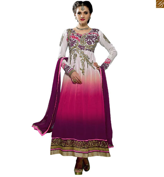 STYLISH LOOKING NEW ANARKALI SALWAR SUIT PATTERNS ON NECK DESIGNS ONLINE SHOPPING INDIA AT POCKET FRIENDLY PRICE  SOBER COLOR COMBINATION OF MAGENTA AND PINK ON WHITE BACK-GROUND OF NECK PATTERNED GEORGETTE KAMEEZ WITH MATCHING SALWAR AND LACE BORDERED DUPATTA