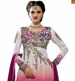 SOBER COLOR COMBINATION OF MAGENTA AND PINK ON WHITE BACK-GROUND OF NECK PATTERNED GEORGETTE KAMEEZ WITH MATCHING SALWAR AND LACE BORDERED DUPATTA