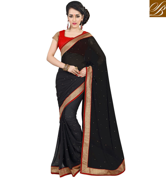 LATEST SAREE BLOUSE DESIGNS WITH BORDER ONLINE INDIAN SARI DRESS SIMPLE BLACK PURE GEORGETTE CASUAL WEAR SAREE WITH RED PURE DUPION BLOUSE