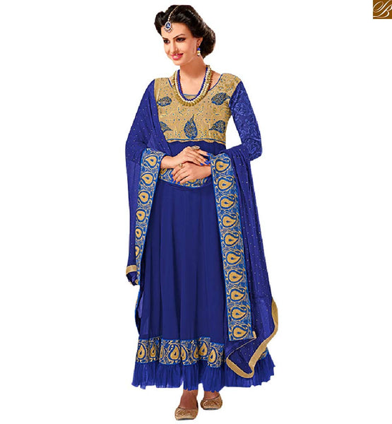 PROMINENT  FULL LENGTH ANARKALI 2015 PANT STYLE SUITS DESIGNER KAMEEZ SALWAR DRESS FOR TEEN GIRLS  BLUE PURE GEORGETTE PATTERNED LONG GOWN TYPE OUTFIT