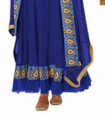 PICTURE OF  BLUE PURE GEORGETTE PATTERNED LONG GOWN TYPE OUTFIT