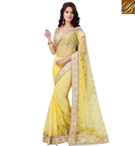 SHOP ONLINE STYLISH BAZAAR NET BRASSO PARTY WEAR YELLOW SAREE WITH BLOUSE