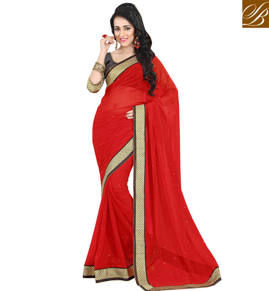 FANCY SAREE BLOUSE DESIGNS OF INDIAN DESIGNER WEAR SHOP ONLINE | IMPRESSIVE COLOR ZARI LACE BORDER WORK WITH PIPPING  CASUAL WEAR SAREE HAVING AWESOME STONE WORKFANCY SAREE BLOUSE DESIGNS OF INDIAN DESIGNER WEAR SHOP ONLINE GRAND RED PURE GEORGETTE CASUAL SAREE WITH GREY PURE DUPION DESIGNER BLOUSE