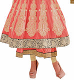 IMAGE OF TRENDY PEACH AND CREAM PURE GEORGETTE LACED PARTY WEAR INDIAN ANARKALI DRESS SALWAR KAMEEZ ONLINE SHOPPING FOR FEMALES