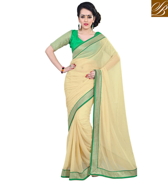 NEW SAREE BLOUSE DESIGNS COLLECTION OF INDIAN CLOTHES FOR WOMENBEIGE COLOR PURE GEORGETTE CASUAL SAREE WITH GREEN PURE DUPION BLOUSE