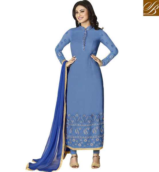 STYLISH BAZAAR INTRODUCES TELESTAR MAUNI ROY IN ENTICING BLUE PAKISTANI STYLE SALWAR SUIT ANZN1123