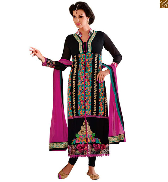 MODISH STYLE OF PAKISTANI DESIGNER SALWAR SUITS NEW LOOK DRESSES COLLECTION FOR ONLINE SHOPPING  COLLARED BLACK GEORGETTE KAMEEZ WITH STYLISH NECKLINE AND MATCHING SALWAR. ASTAR AND DARK PINK DUPATTA ALSO INCLUDED