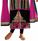 COLLARED BLACK GEORGETTE KAMEEZ WITH STYLISH NECKLINE AND MATCHING SALWAR. ASTAR AND DARK PINK DUPATTA ALSO INCLUDED