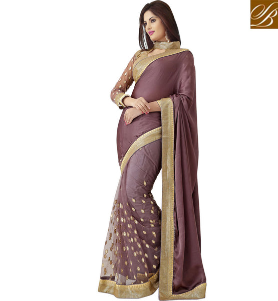STYLISH BAZAAR DESIGNER COFFEE PARTY WEAR SAREE WITH CREAM BLOUSE