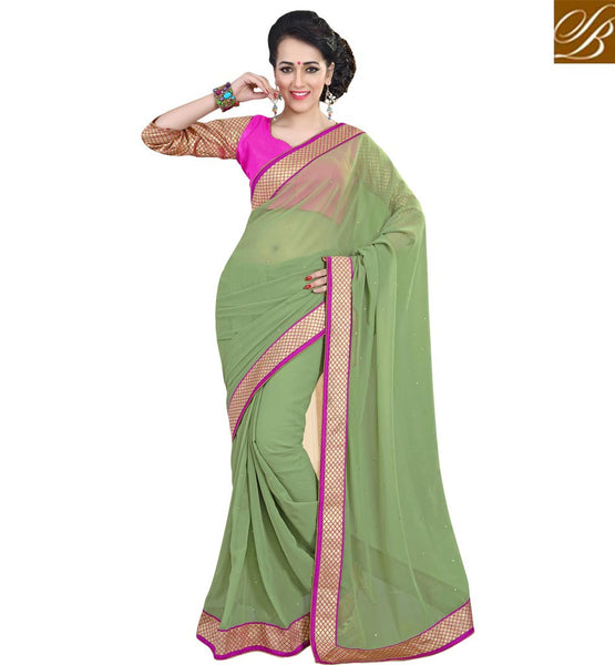 SAREE BLOUSE DESIGNS FRONT AND BACK PATTERNED ETHNIC WEAR INDIA SEA GREEN PURE GEORGETTE CASUAL SAREE WITH PINK PURE DUPION DESIGNER BLOUSE