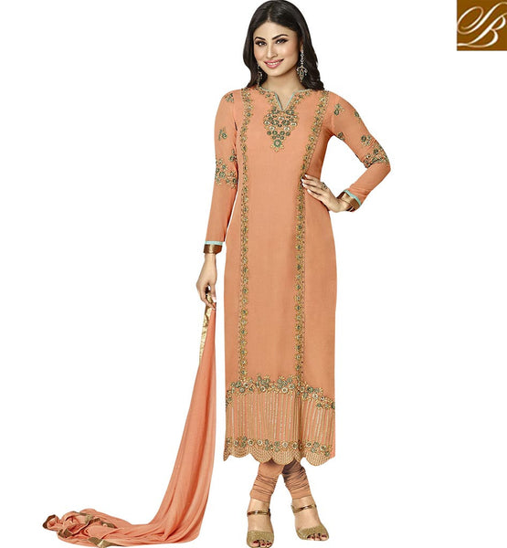 TELEVISION ACTRESS MAUNI ROY IN EMBROIDERED STRAIGHT CUT SALWAAR KAMEEZ ANZN1124 BY PEACH
