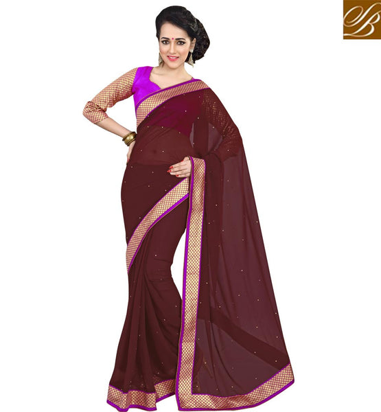 CHIFFON SAREE BLOUSE DESIGNS COLLECTION OF INDIAN DESIGNER WEARSIMPLE BROWN PURE GEORGETTE CASUAL SAREE WITH DARK PINK DUPION BLOUSE