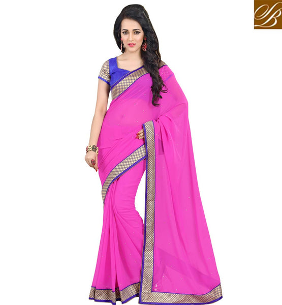 LATEST BLOUSE PATTERNS WITH DESIGNER INDIAN SAREES NEW STYLE LOVELY PINK PURE GEORGETTE CASUAL SAREE WITH BLUE DUPION DESIGNER BLOUSE