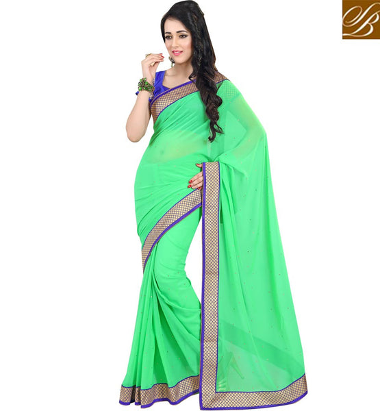 LATEST BLOUSE PATTERNS AND INDIAN SAREES DESIGNS BEST OF 2015LIRIL GREEN PURE GEORGETTE CASUAL SAREE WITH BLUE DUPION DESIGNER BLOUSE
